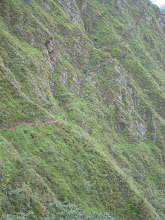 Photo: An Inca trail cutting across the mountainside