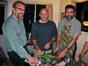 Photo: John, Mark and Andy preparing ingredients