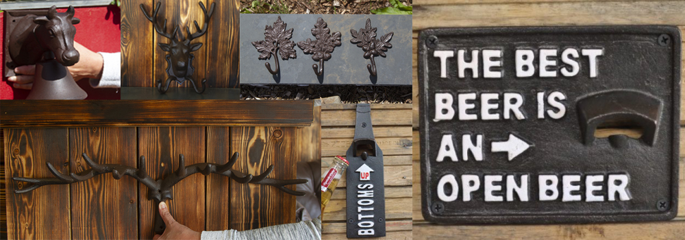 Fantastic pub accessories for home pubs and home bars including beer openers, coat hooks and bells.