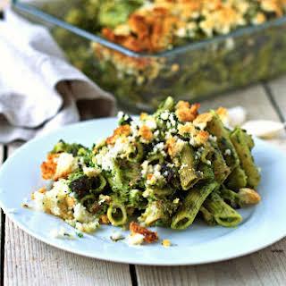 Kale Pesto Pasta Casserole [Vegan, Gluten-Free].