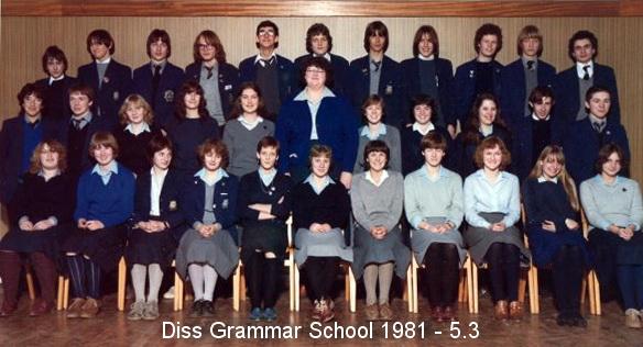 Photo: Diss Grammar School 1981 - Form 5.3 DGS Assembly Hall (Thanks - Mark Robinson)