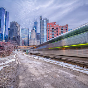 Waiting for a Train by Hamish Carpenter - Buildings & Architecture Architectural Detail ( l-train, illinois, winter, blue hour, night, long exposure, chitecture, travel, chicago, downtown, trains )