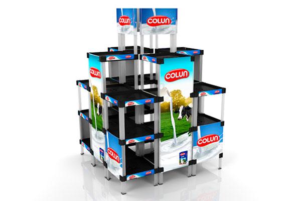exhibidor modular plástico con bandejas y gráfica payloader PL18