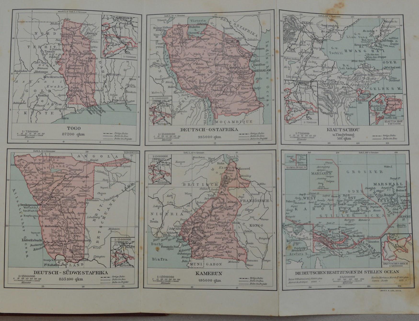 W. Scheel - Deutschlands Kolonien - 1912 - Landkarte der Kolonien