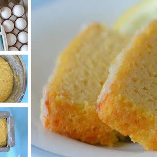 Gluten-free Lemon Pound Cake with Coconut Glaze.