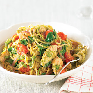 Chili Chicken Noodles with Cilantro Pesto