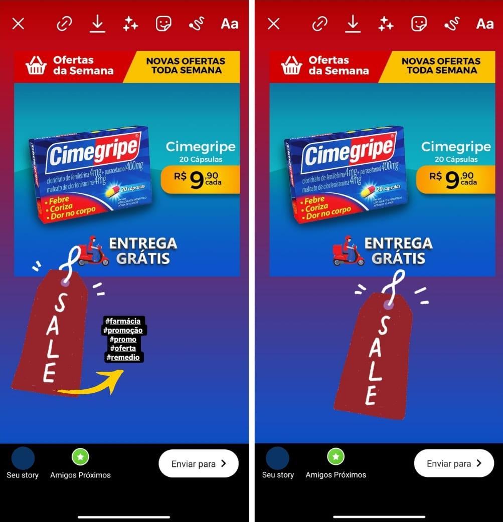 ideias de marketing para farmácia: esconder hashtag no instagram atrás de figurinhas nos stories.