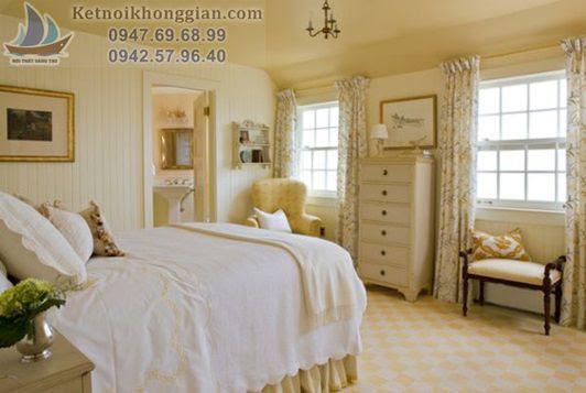 thiết kế phòng ngủ màu vàng hoàng gia