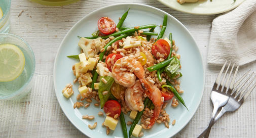 New-mom meal: Lemony shrimp with farro, artichokes & green beans