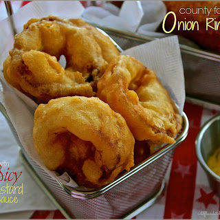 County Fair Onion Rings with Spicy Hot Honey Mustard Sauce