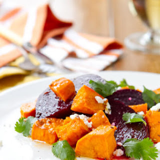 Roasted Sweet Potato Salad with Beets and Siracha Dressing