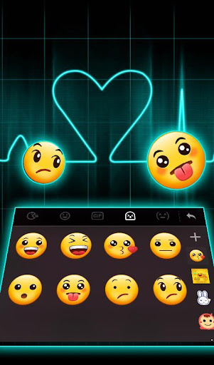 Live Neon Heart Keyboard Theme for PC