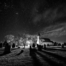 Stockholm Lutheran Church Black and White by Zach Hanson - Black & White Landscapes ( church, black and white, stars, cemetery, nebraska )