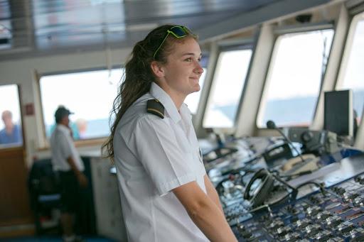 Lottie Astbury, a deck cadet, on the bridge of Wind Surf.