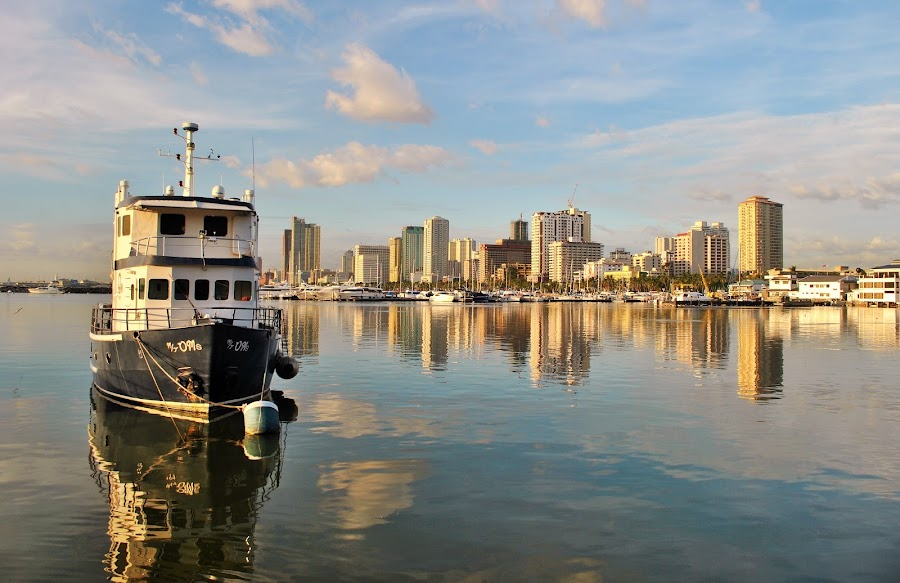 Reflections by Greg Crisostomo - City,  Street & Park  Vistas ( water, bay, urban water, manila bay, yacht club, marina,  )