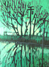 Photo: Delta Series, Green and Silver, pastel by Nancy Roberts, copyright 2014. Private collection.