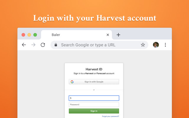 Baler | Harvest on your New Tab