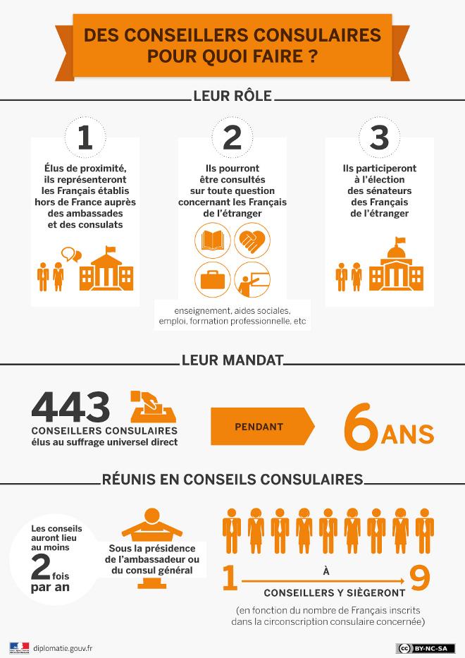 """Infographie """"Des conseillers consulaires : pour quoi faire ?"""""""