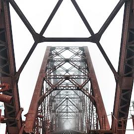 voirob old bridge..... by Ashif Hasan - Buildings & Architecture Bridges & Suspended Structures ( vanishing point, geometrical, bridges, red lines, structure, red, voirob bridge, voirob old bridge, architectural detail, ashif hasan, geometric, geometry, bridge, bangladesh, architecture )