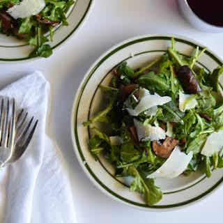 Warm Arugula Salad with Balsamic Mushrooms.