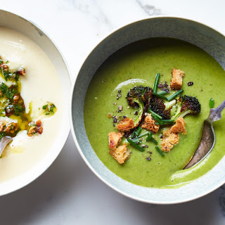 Broccoli-Spinach Soup with Crispy Broccoli Florets and Croutons