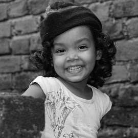 The smiling Aryaa by Mihir Ranjan - Babies & Children Child Portraits ( the smiling aryaa, the  black & white portrait of laughing girl., black & white, the laughing girl, portrait of girl, black and white portrait, portrait,  )
