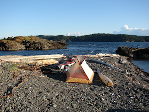 Photo: Looking west across Sabine Channel to Lasqueti Island from my camp on Texada Island.