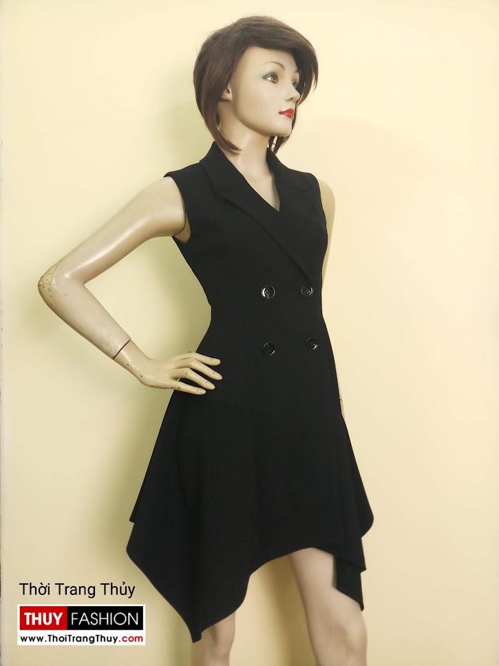 Váy xòe vạt lệch cổ vest nữ mặc dự tiệc V670 tại Hải Phòng