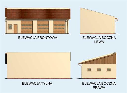 G160 szkielet drewniany garaż trzystanowiskowy - Elewacje