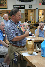 """Photo: Stan Wellborn brought in a copy of """"Colorado Country and Life"""" with an article that he wrote about the woodturner Shirlen Heath."""