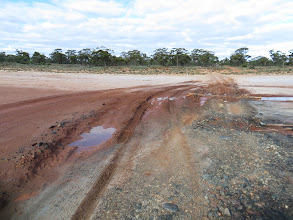 Photo: The Telegraph track xing over Lake Dundas, almost dry.