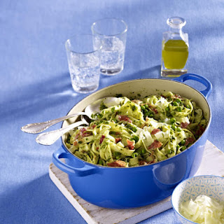 Pesto Tagliatelle with Prosciutto and Peas.