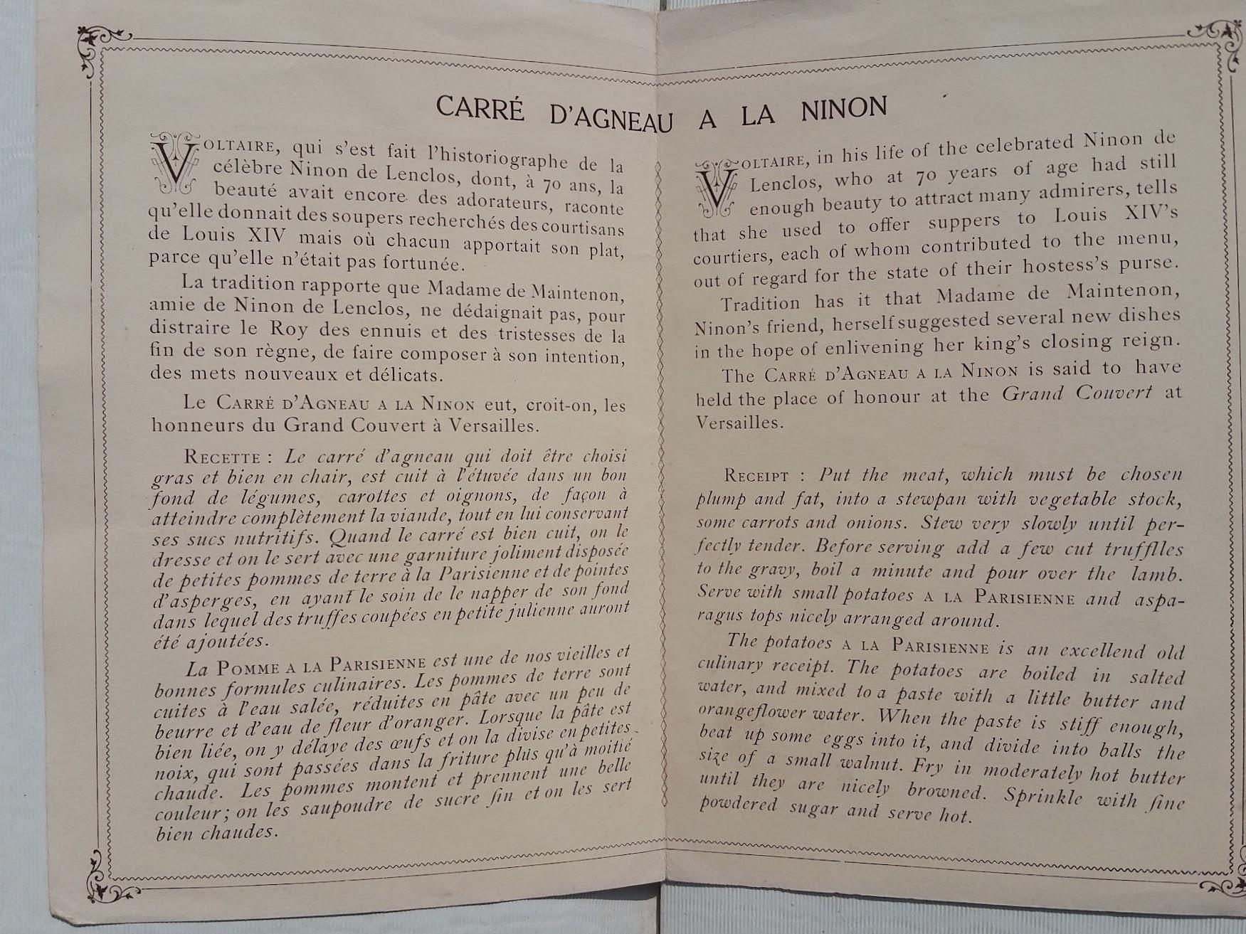 "Compagnie Generale Transatlantique, New York - Le Havre - Paris, Begleitblatt zum 1.Klasse Menü - S.S. ""France II"", 1912"