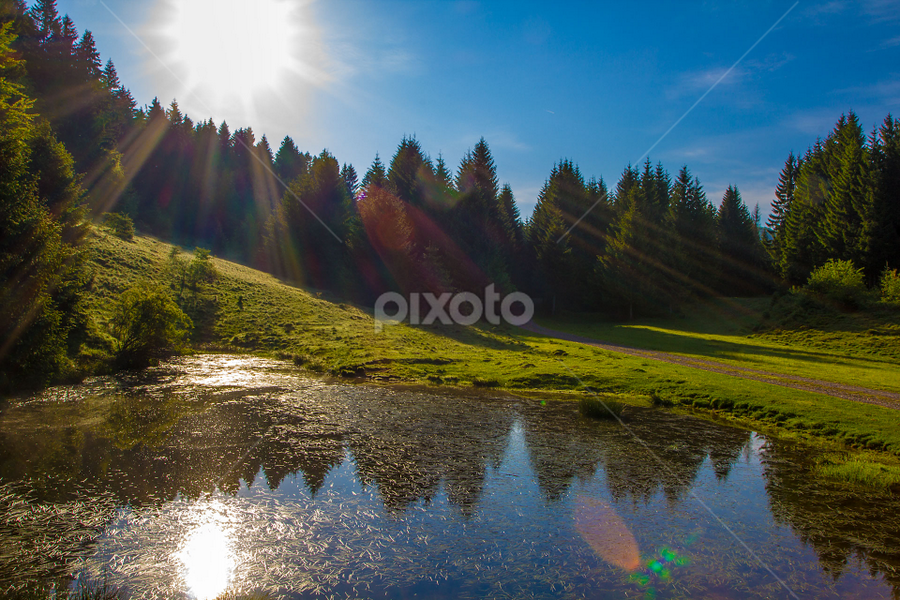 Mountain pond sunbathed at dawn by Stanislav Horacek - Landscapes Waterscapes