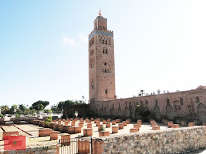 "Photo: Koutoubia Mosque is the largest mosque in Marrakech. Its name was derived from the Arabic al-Koutoubiyyin, meaning ""librarian"", since it used to be surrounded by sellers of manuscripts."