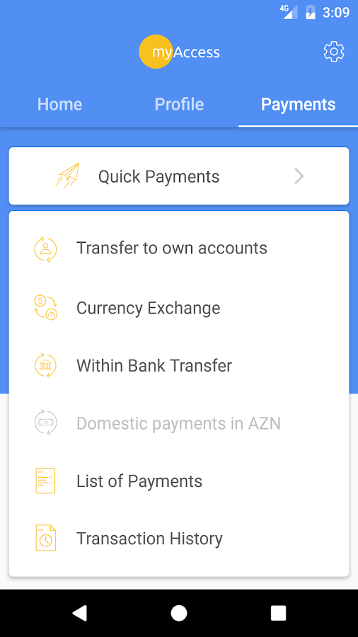 myAccess mobile banking- screenshot