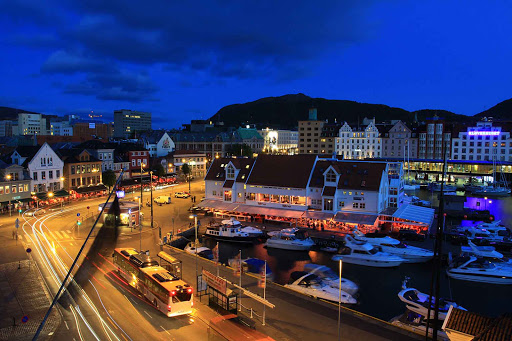Norway-Bergen-night-traffic - The waterfront of Bergen, Norway, bustles most spring and summer evenings.
