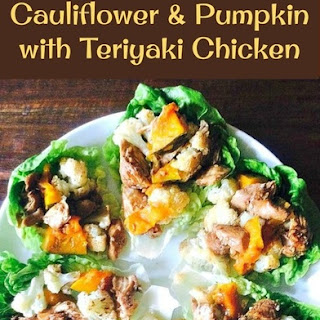 Spiced Baked Cauliflower and Pumpkin with Teriyaki Chicken