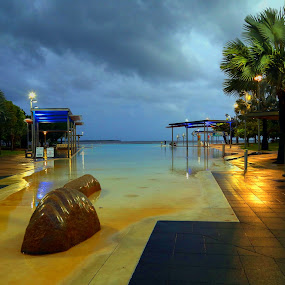 Cairns Lagoon at Night by Lee Newman - City,  Street & Park  Night ( lights, tranquil, lagoon, colourful, reflections )