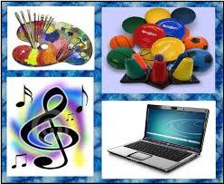 music note, paints, sports balls, computer