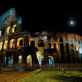 Colosseum in moonlight by Peter Greenhalgh - Travel Locations Landmarks ( roma, famous landmarks, colosseum, moon, rome, night, colosseo, italy, moonlight )