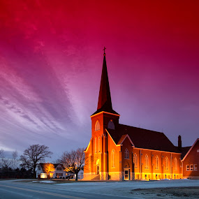 Country Church by Ken Smith - Buildings & Architecture Places of Worship ( country church, twilight, louisville nebraska, landscape )
