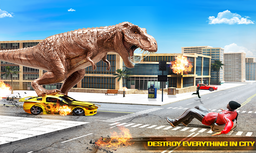 angry dino attack city rampage: wild animal games screenshot 2