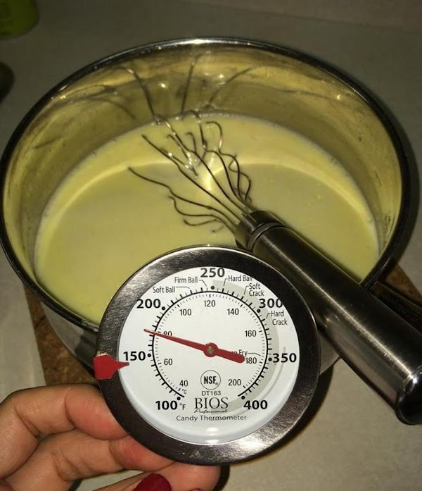 Cook over low heat, whisking constantly until the temperature reaches 175 degrees approximately; after...