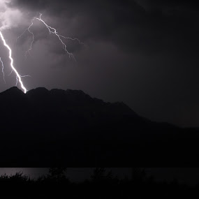 Lightning by Jacob Hoedl - Landscapes Weather ( mountains, b&w, dark, night, storm, banff )