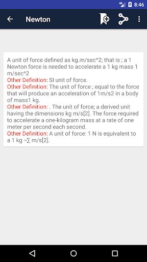 Screenshot 3 Physics Dictionary