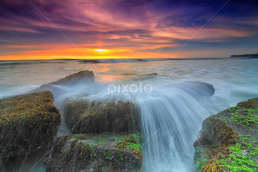 Rock by Krishna Mahaputra - Landscapes Waterscapes ( water, canon, bali, sunset, popular, waterscaper, landscapes )