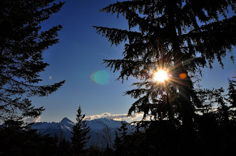 Photo: Last June we went up the mountains near Squamish in search of snow. We found it. And the low sun in the evening as we headed back down to sea level.