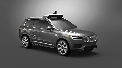 One of the Volvo XC90s undergoing tests with Uber in San Francisco in 2016. Below: One of the existing Volvo XC90 models fitted with Uber's own autonomous driving technology. Picture: QUICKPIC