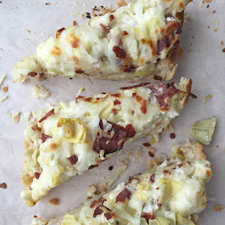 Asiago Artichoke French Bread White Pizza w. Bacon